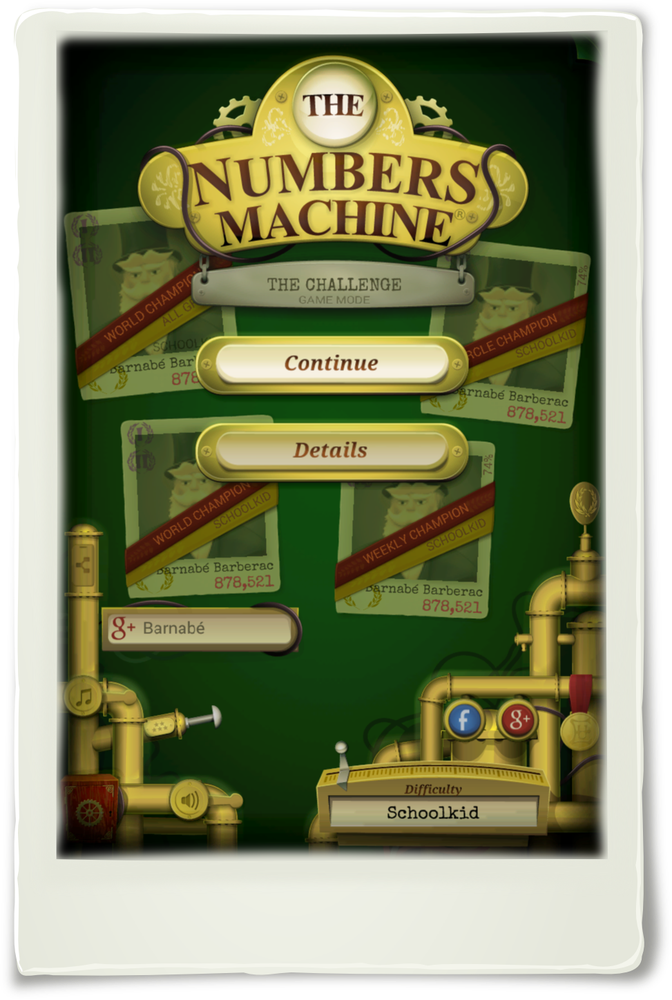 The Numbers Machine : You have the best score in the world